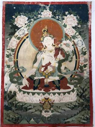 A TIBET PAINTING OF WHITE TARA