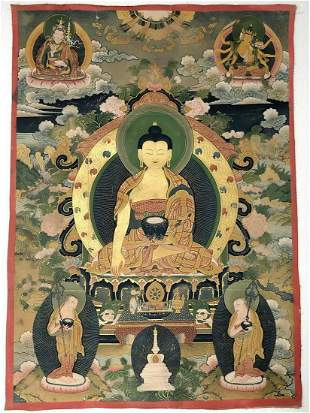 A TIBET PAINTING OF SHAKYAMUNI