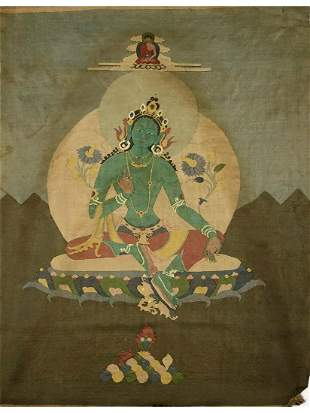 A TIBET PAINTING OF GREEN TARA