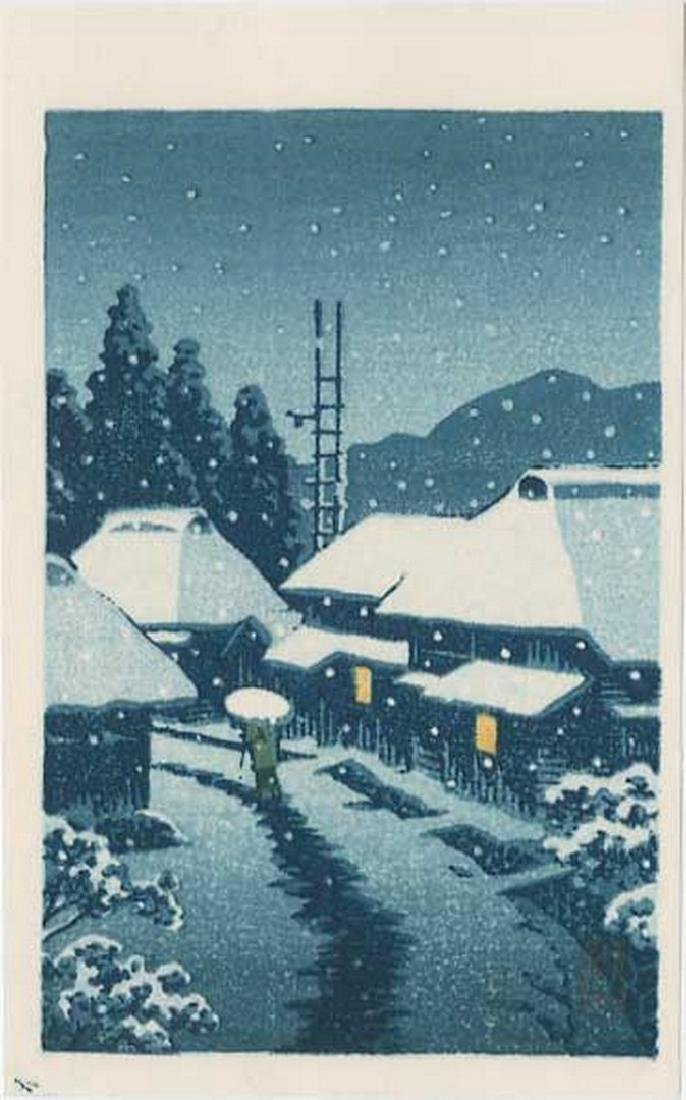 Hasui -- Terashima Village in Snow Woodblock
