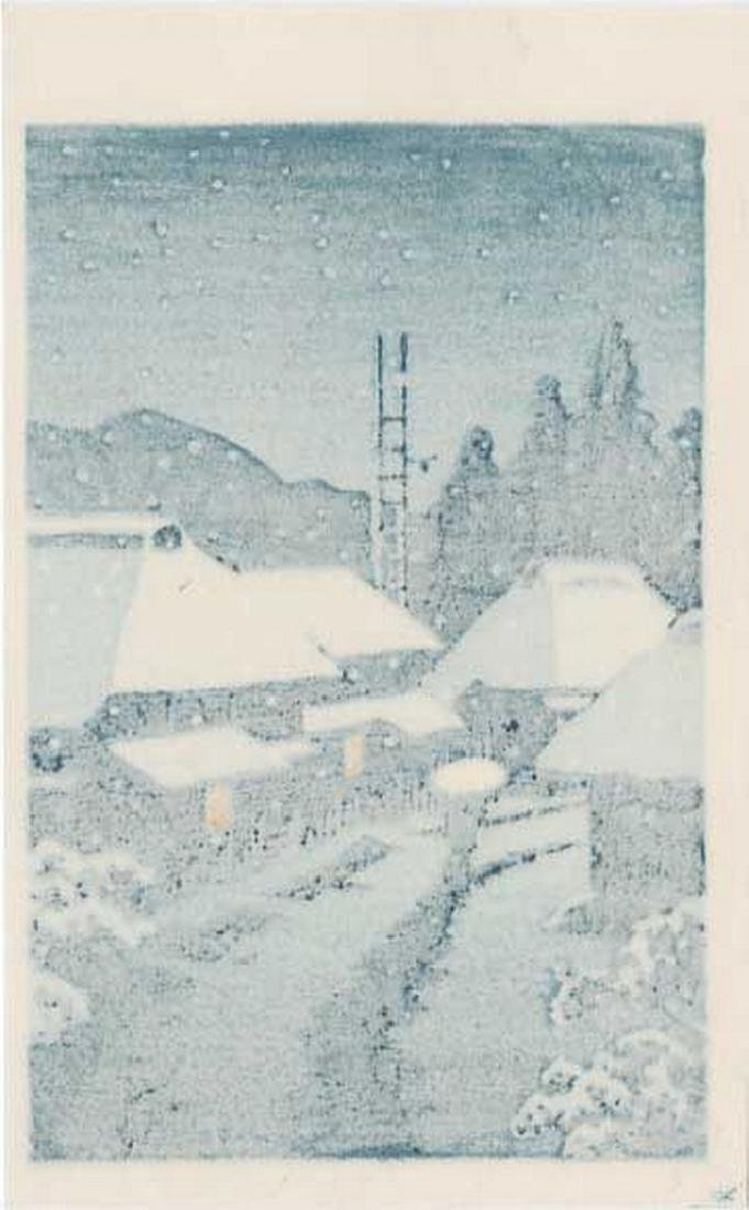 Hasui -- Terashima Village in Snow Woodblock - 2