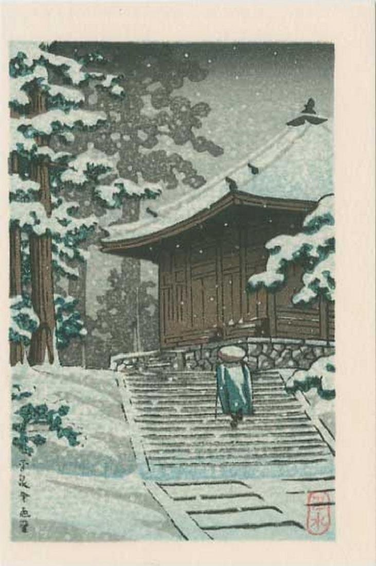 Hasui -- Konjikido in Snow, Hiraizumi Woodblock