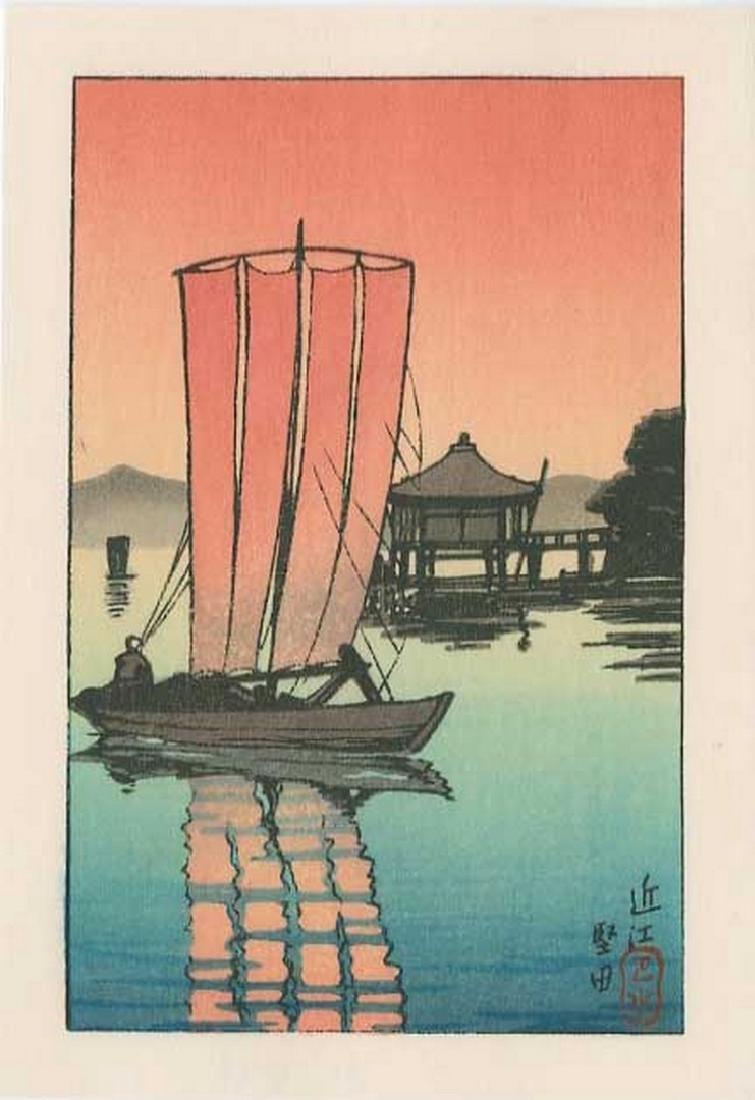 Hasui -- Ohmi, Katada Woodblock