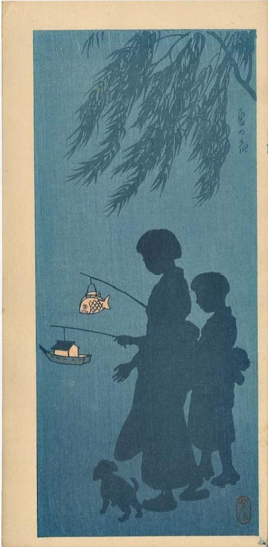 Kasamatus Shiro: Two Children with Lanterns Woodblock