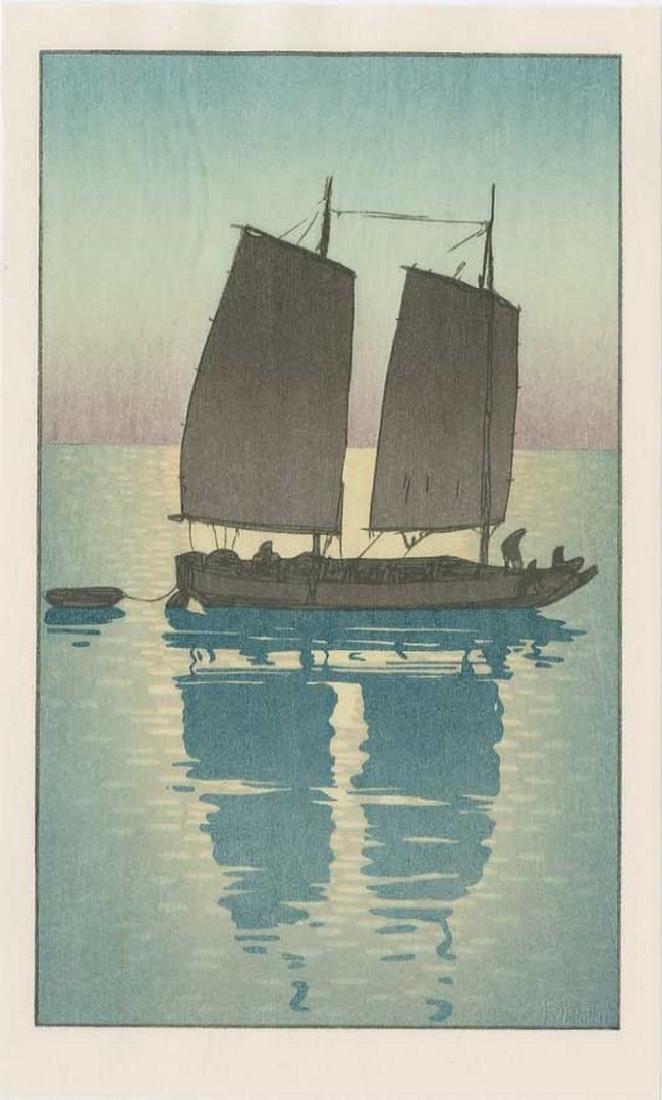 (After) Hiroshi YOSHIDA: Sailing Boat, Day Woodblock