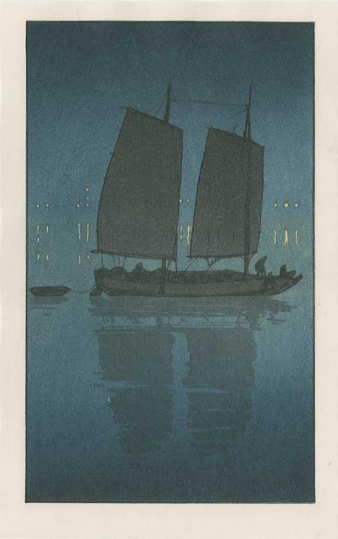 (After) Hiroshi YOSHIDA: Sailing Boat, Night Woodblock