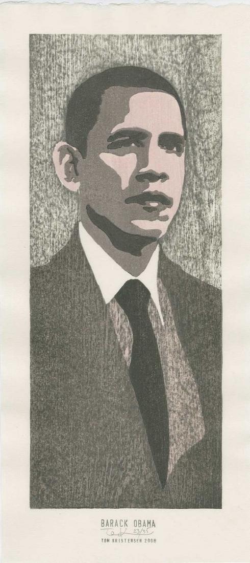 Tom Kirstensen -- Barack Obama (#23/35) Woodblock