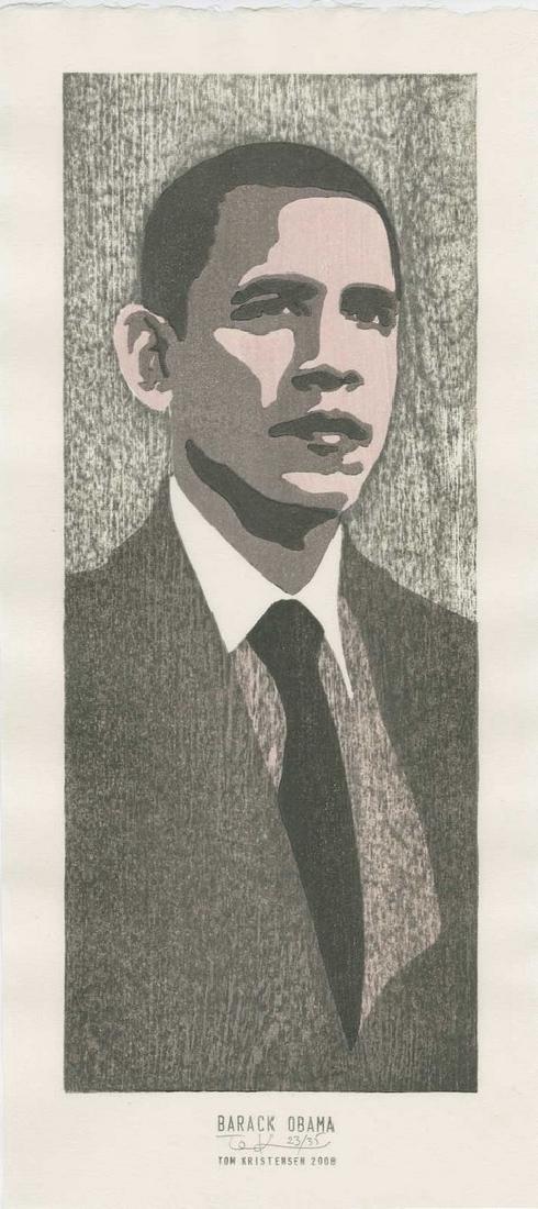 Tom Kirstensen -- Barack Obama (#23/35) Woodblock