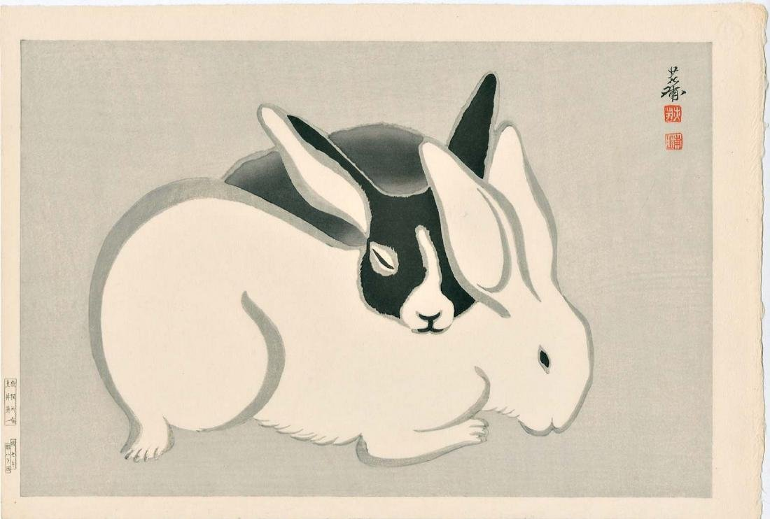 Tekiho Imoto: Black & White Rabbits Sleeping Woodblock