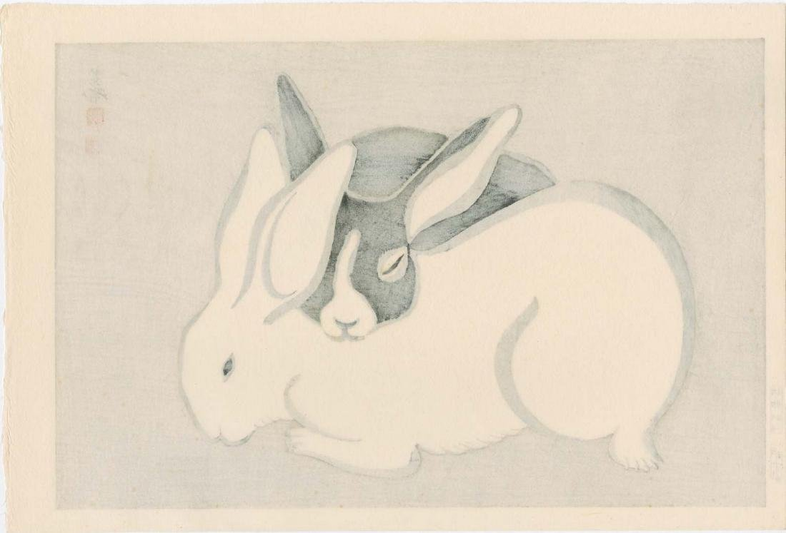 Tekiho Imoto: Black & White Rabbits Sleeping Woodblock - 2