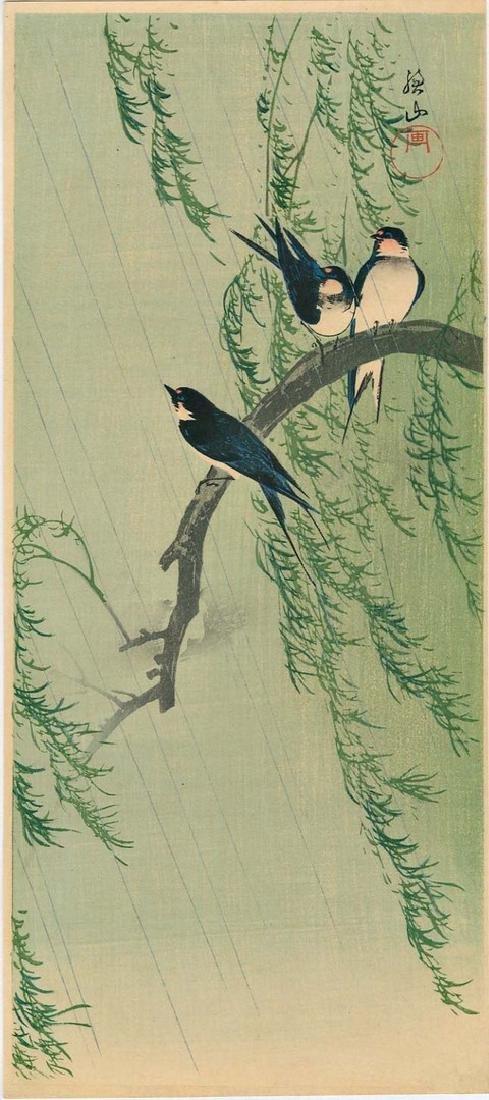 Sozan Ito: Swallows on a Willow Branch Woodblock