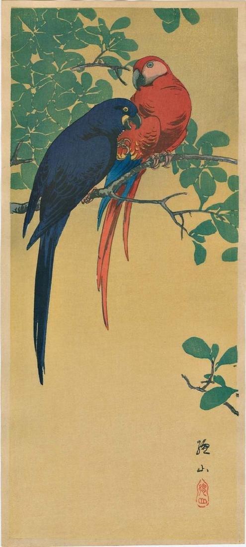 Sozan Ito: Two McCaws (Parrots) Woodblock