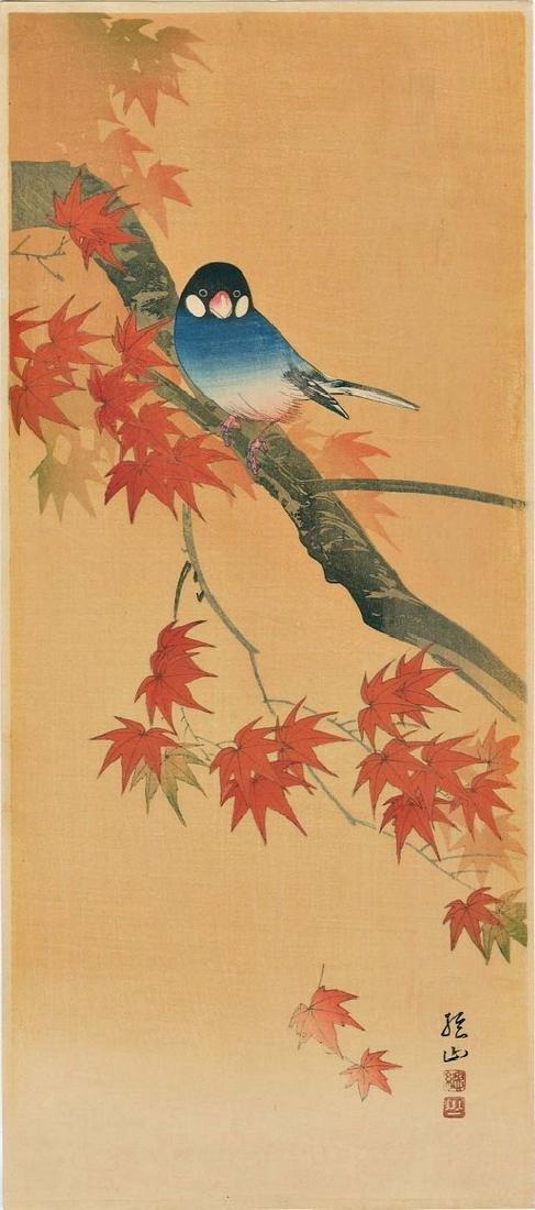 Sozan Ito: Finch on a Maple Branch Woodblock