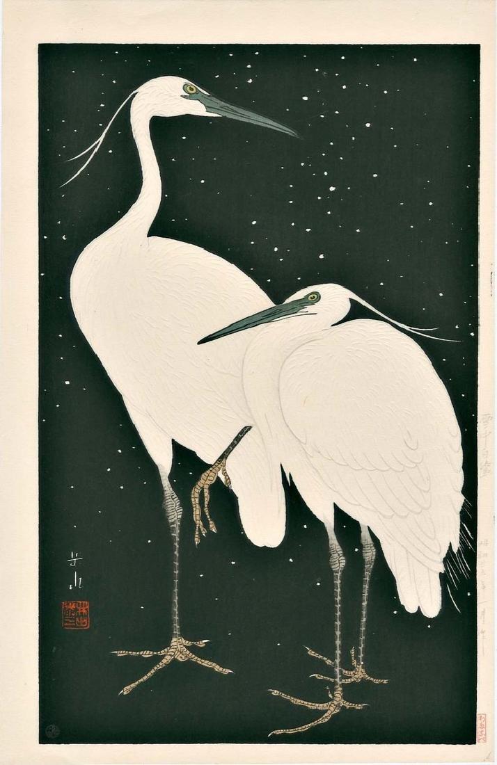 Gakusui Ide: Two Herons in Snow Woodblock