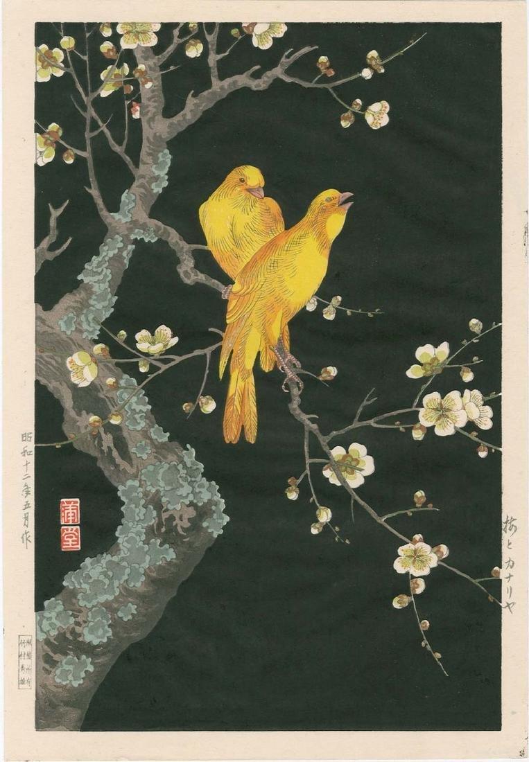 Hodo Nishimura: Canaries on Flowering Branch Woodblock