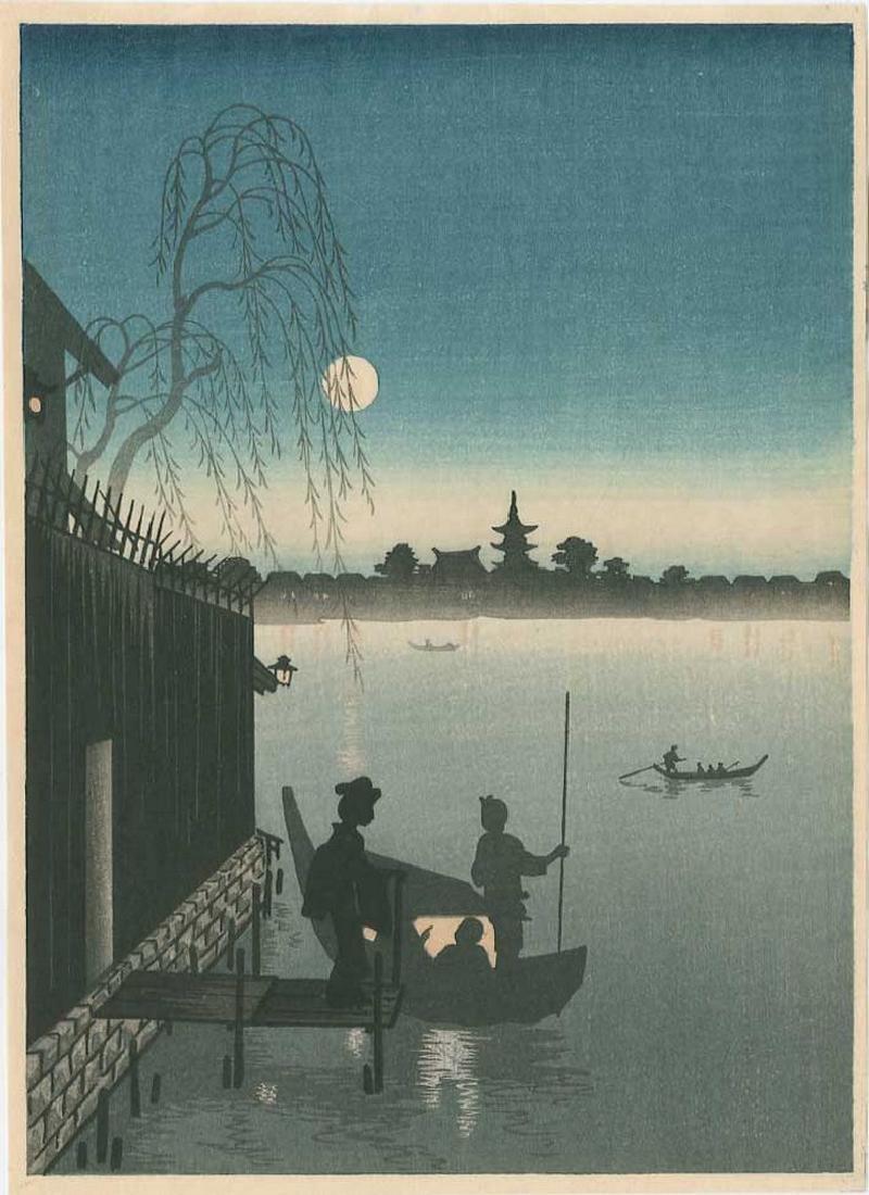 Eijiro Kobayashi -- Evening Cool Sumida River Woodblock