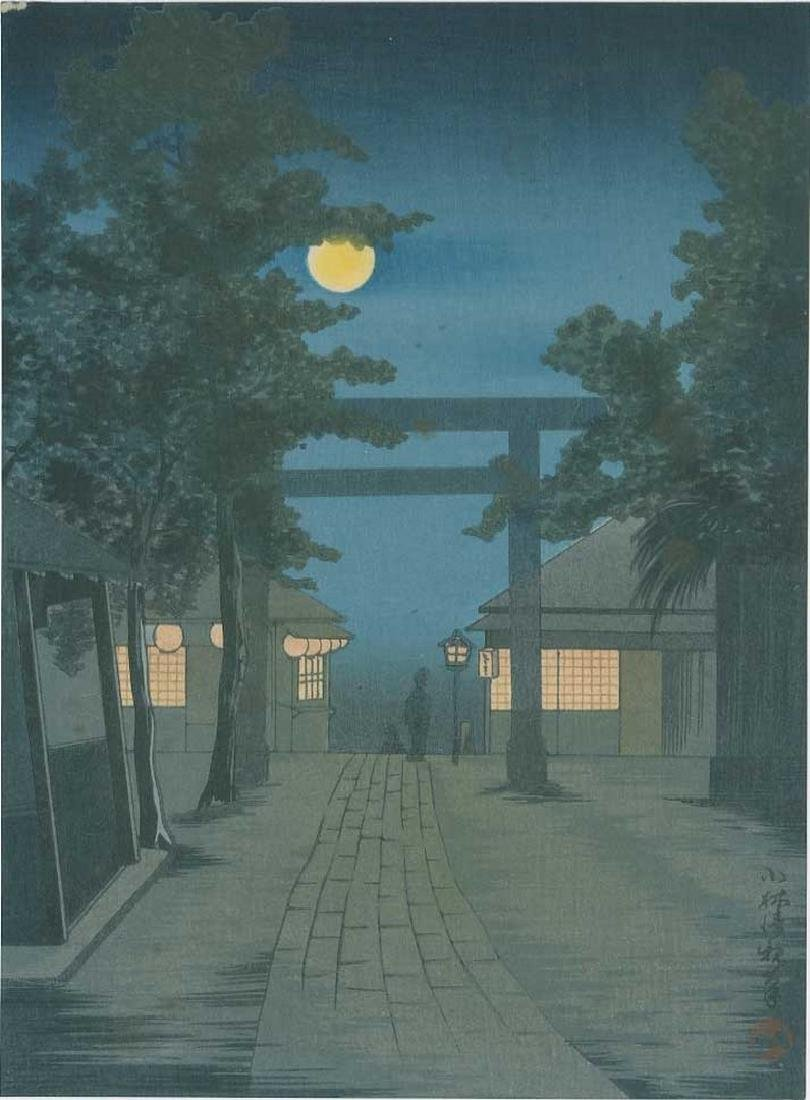 Kiyochika -- Shrine Visit at Night Woodblock