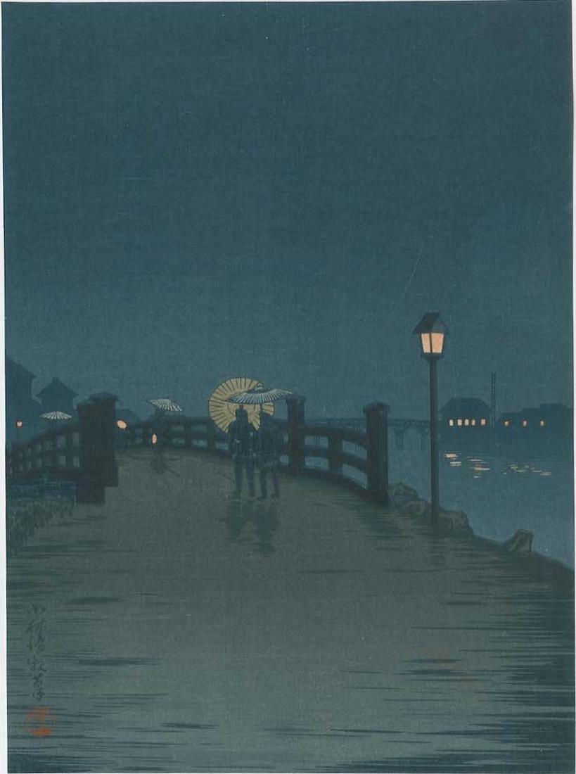Kiyochika -- Crossing a Country Bridge Woodblock