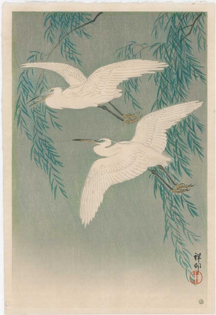 Koson -- White Herons and Willow Woodblock
