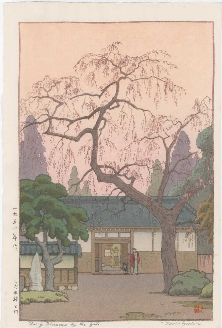 Toshi Yoshida -- Cherry Blossoms by Gate Woodblock