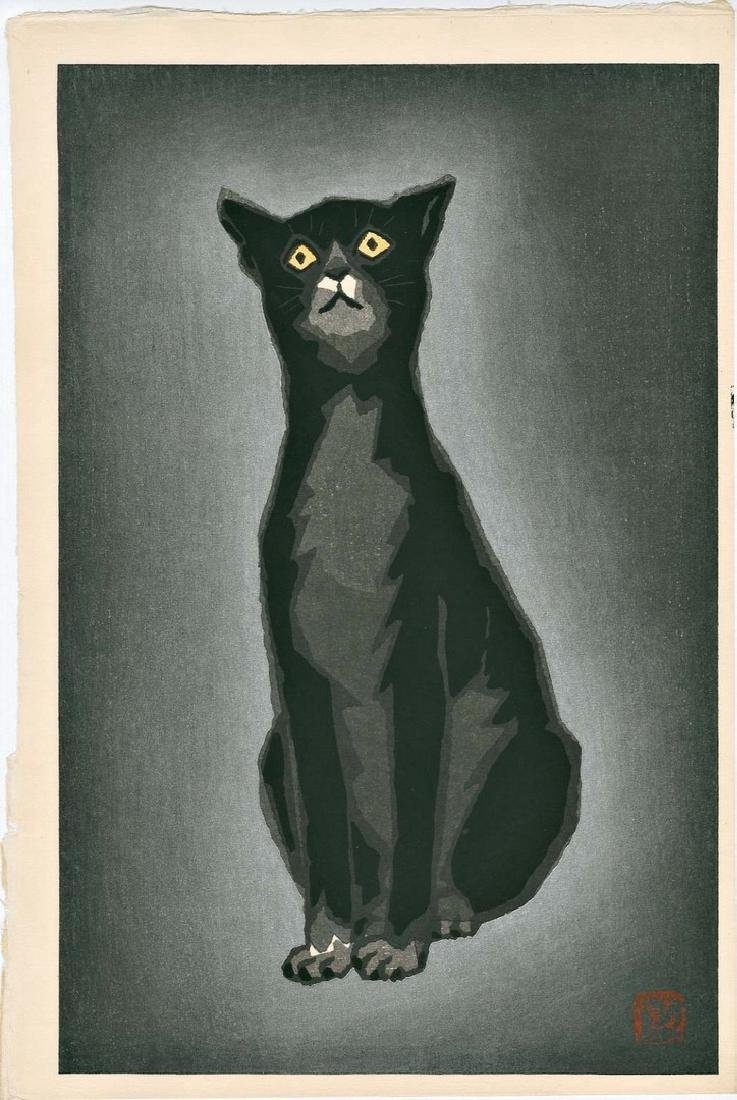 Shunsen Natori: Black Cat Woodblock