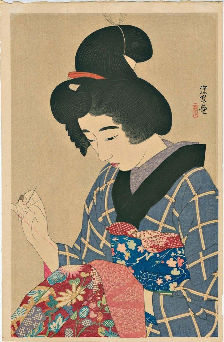 Shinsui Ito: Woman Sewing Woodblock 1st Edition