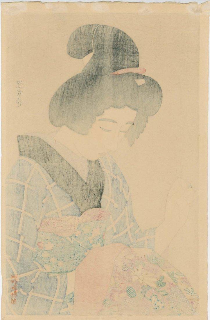 Shinsui Ito: Woman Sewing Woodblock 1st Edition - 2
