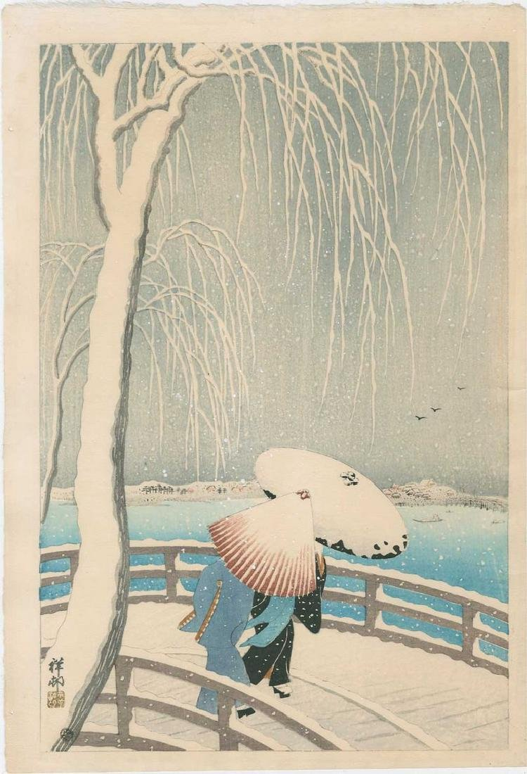 Koson -- Snow on Willow Bridge Woodblock