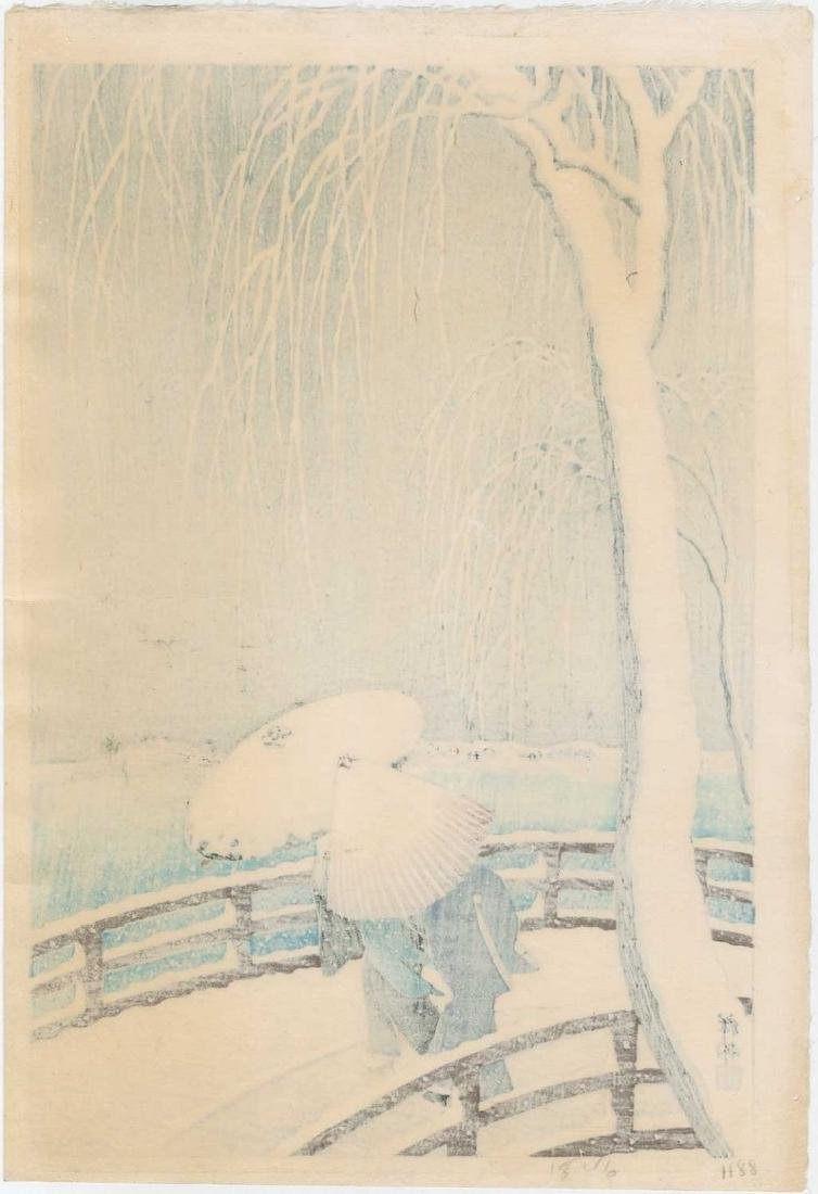Koson -- Snow on Willow Bridge Woodblock - 2