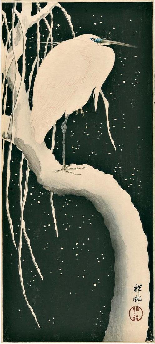 Koson Ohara: Egret on Snow Covered Branch Woodblock