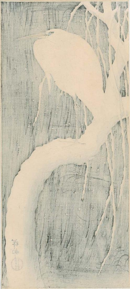 Koson Ohara: Egret on Snow Covered Branch Woodblock - 2