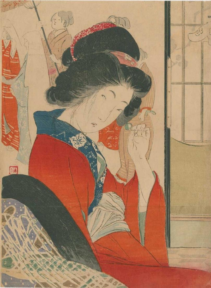 Yakanama Kodo: Beauty Adjusting a Hairpin Woodblock