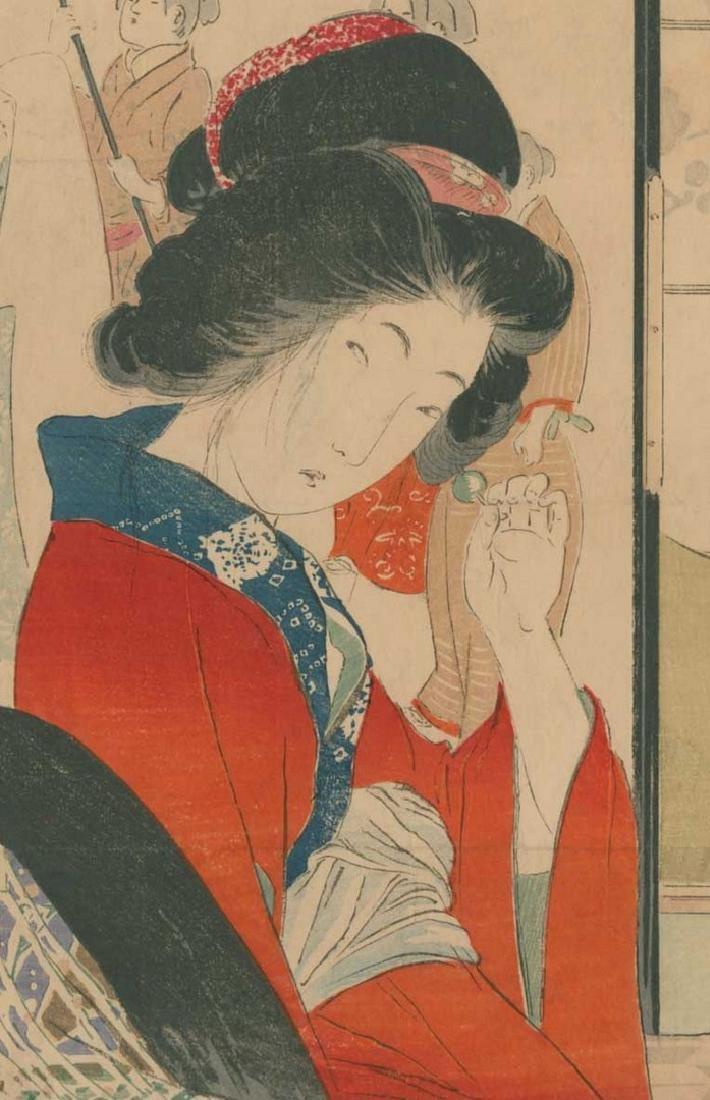Yakanama Kodo: Beauty Adjusting a Hairpin Woodblock - 2