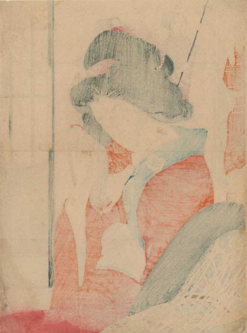 Yakanama Kodo: Beauty Adjusting a Hairpin Woodblock - 3