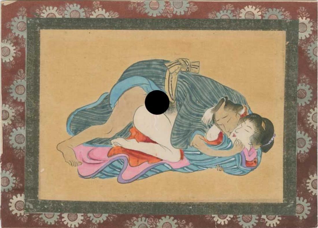 Unsigned - Original Shunga Painting on Silk