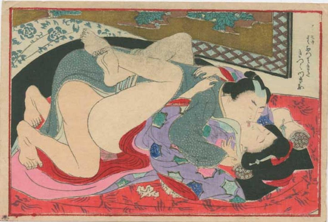 Unsigned - Lovers Antique Color Shunga Woodblock