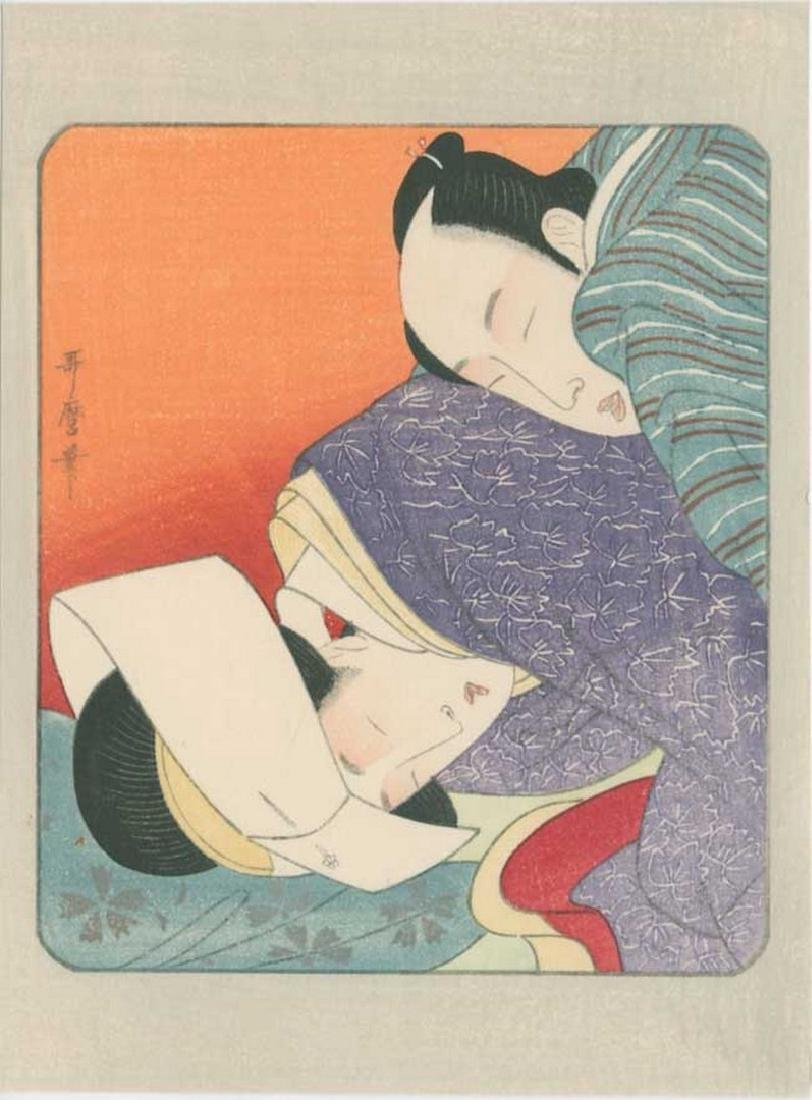 Utamaro - Lovers Antique Color Shunga Woodblock