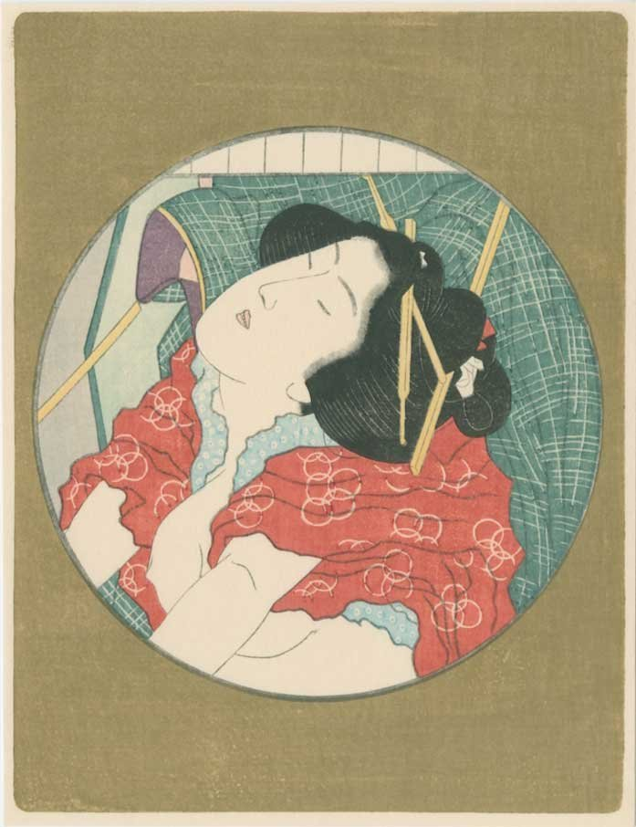 Unsigned - Oval Antique Color Shunga Woodblock