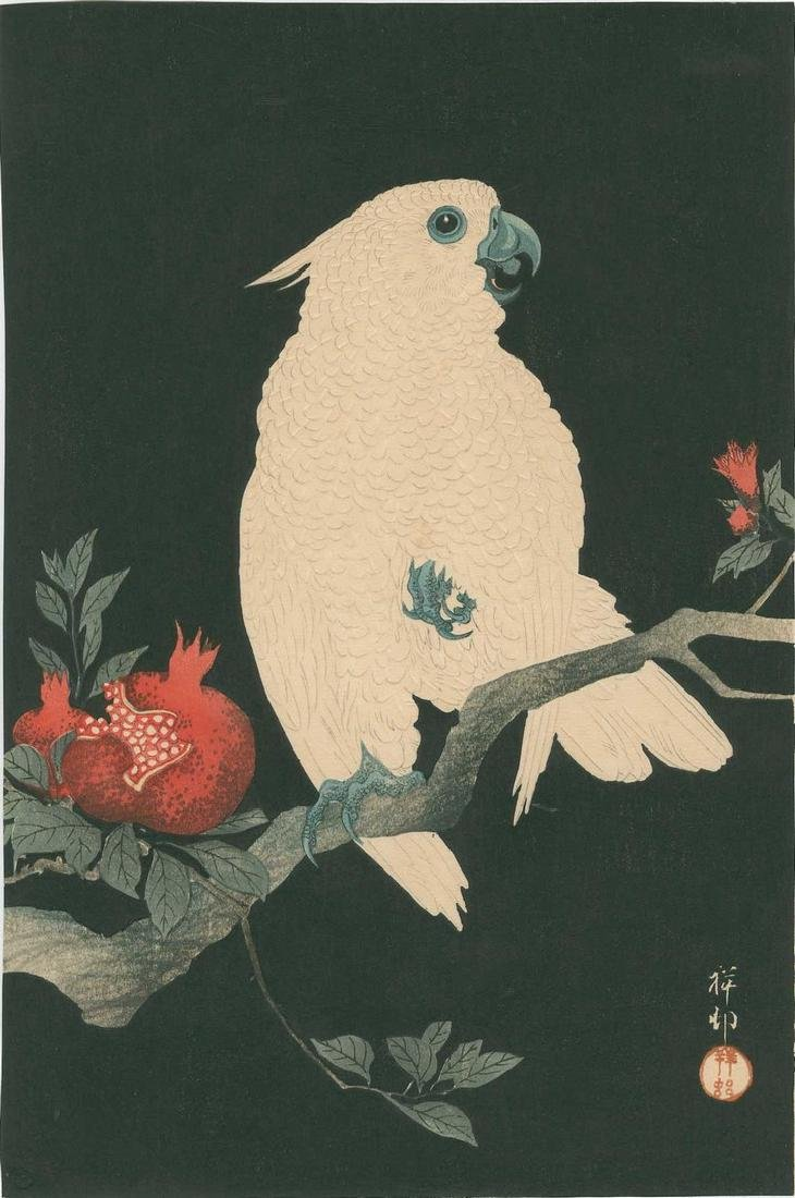 Koson - Cockatoo and Pomegranate Woodblock