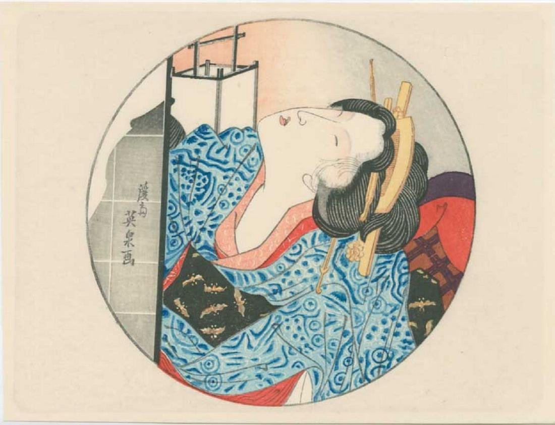 Eisen - Oval Antique Color Shunga Woodblock