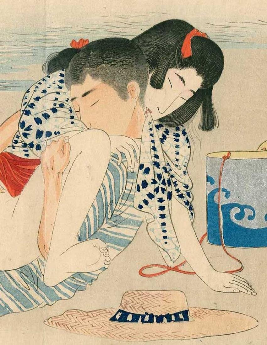 Meiji Shunga: Couple in Coitus and a Hat Woodblock - 2