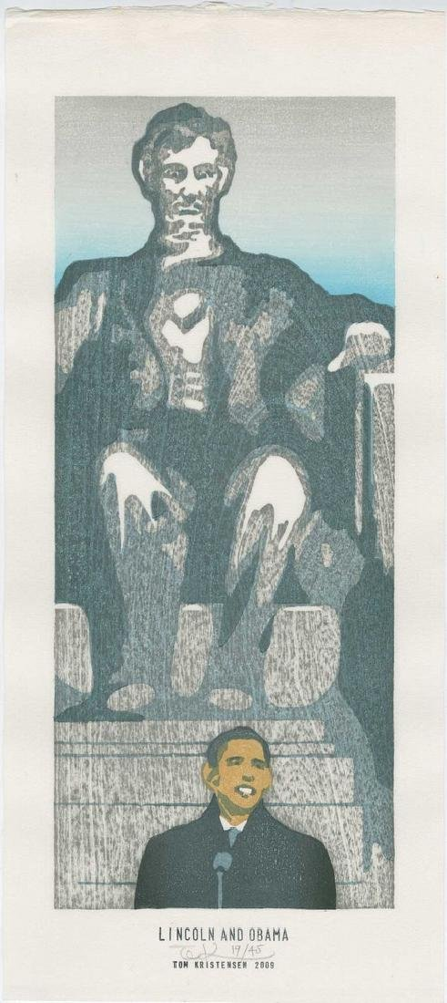 Tom Kristensen - Lincoln and Obama (#19/45) Woodblock