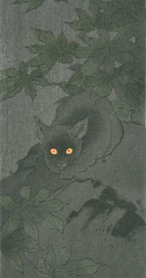 Koho Shoda: Black Cat at Night Woodblock - 2