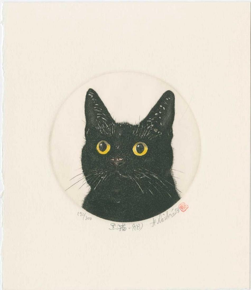 Norikane Hiroto: Black Cat with Yellow Eyes Mezzotint