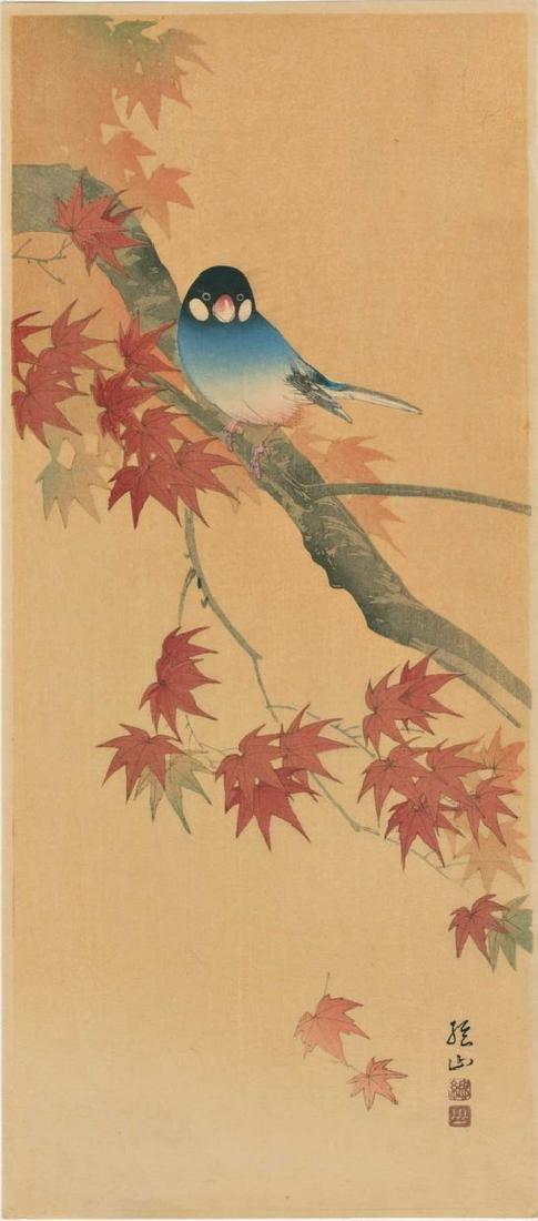 Sozan Ito: Java Finch on a Maple Branch Woodblock