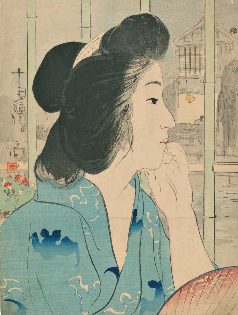 Kiyokata: Onsen (Woman at Hot Spring) Woodblock