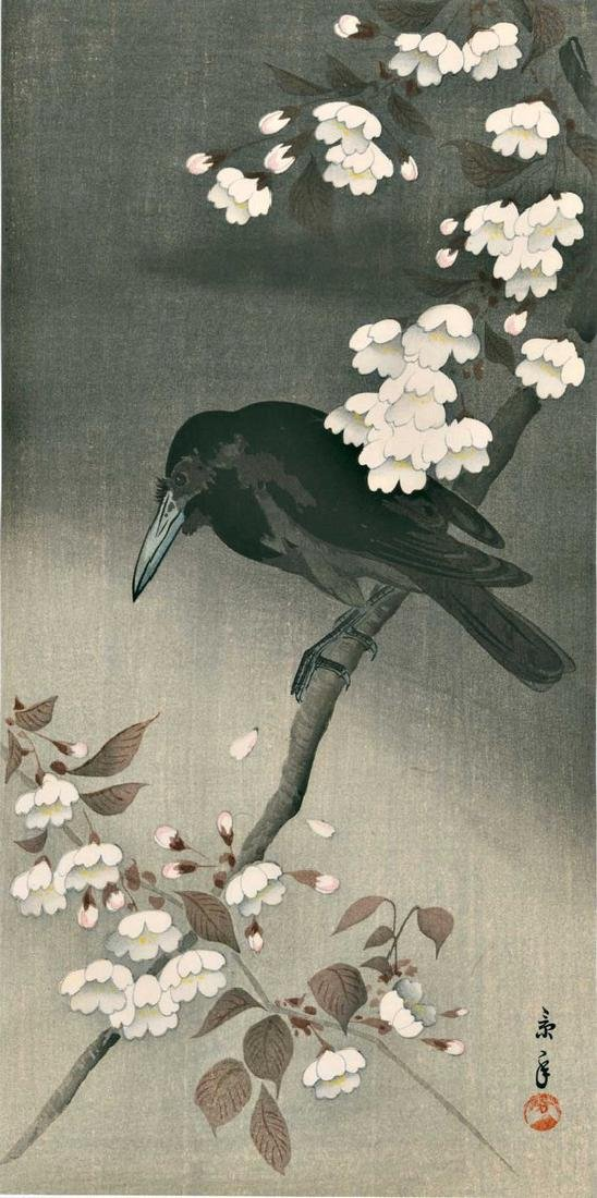 Keinen Omao: Crow on a Blossoming Cherry Tree Woodblock