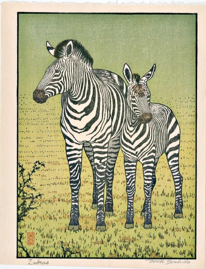 Toshi Yoshida: Zebras Woodblock 1st Edition