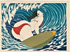 Yoshio Okada: Surfer Girl Woodblock 1st Edition