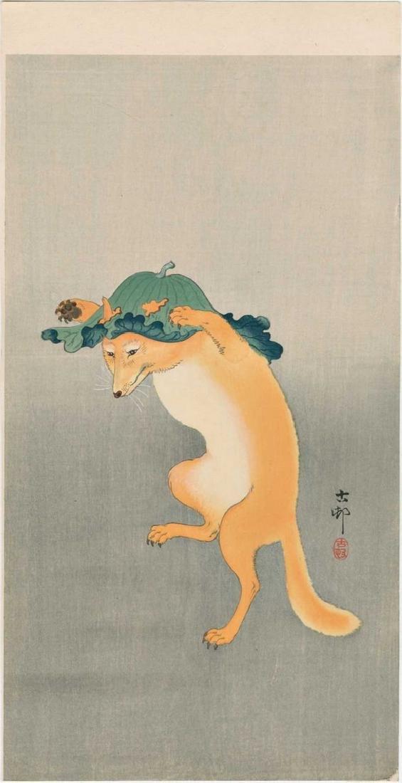 Koson Ohara: Dancing Fox Woodblock